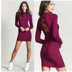 New F21 Magenta Crisscross-Back Mini Dress L NWT